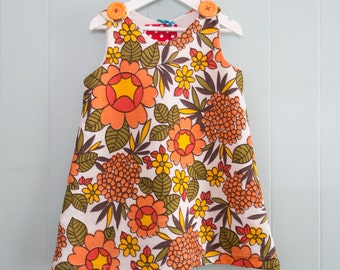 Flower power pinfore / retro dress / girls pinafore