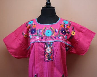 Frida Style Colorful Mexican Dress with Embroidered Flowers- Pink - Summer-BOHO-Hippie (Large - XL)