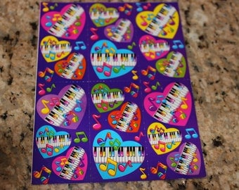 Vintage Lisa Frank Piano Stickers S169