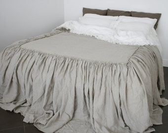 LINEN COVERLET dust ruffle .Ruffled linen bedspread, dust ruffle. Washed and softened. Made by MOOshop.*4