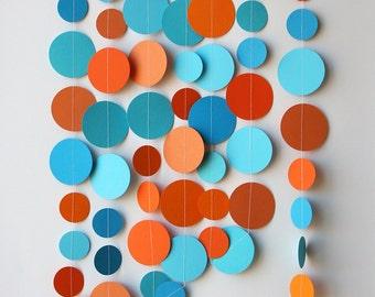 Blue orange garland, Beach wedding, Paper garland, Blue, turquoise, aqua, orange garland, Birthday party decorations, Nursery, KC-1210