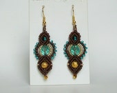 Macrame earrings, beaded earrings, hand made earrings