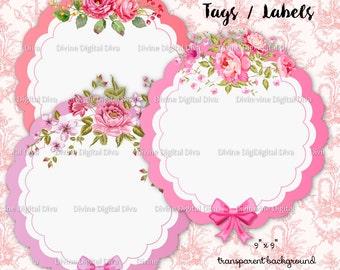 Shabby Rose Tags Labels Frames Digital Images Instant Download Transparent