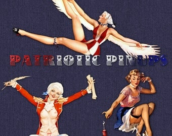 9 Patriotic Pinup Girls | Red White | Blue | Flag | 4th of July |Vintage Retro | Digital Clipart | Transparent PNG Instant Download