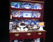 Antique mahogany large display unit cabinet mirror ornement shelves 12th scale Dolls house emporium furniture  accesesories living room