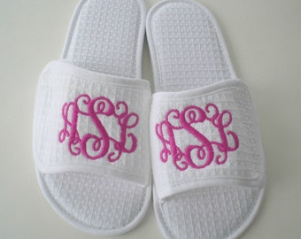 Monogrammed Slippers Wedding Party Gift by Happily Ever After XOXO