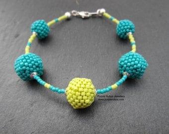 Turquoise & Lime Beaded Bead Bracelet