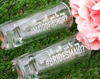 Personalized Will You Be My Bridesmaid Shot Glass (1x) Custom Engraved Shooter Shot Glass, Bridesmaid Proposal, Bachelorette Party Favor