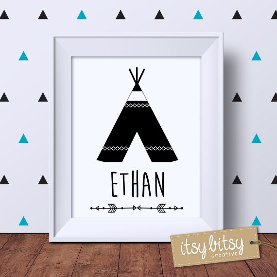 personalised teepee print kids decor boys by itsybitsycreative. Black Bedroom Furniture Sets. Home Design Ideas