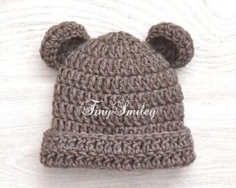 Tedy Bear Hat, Bear Hat, Newborn Bear Hat, Brown Crochet Hat, Brown Bear Hat, Photo Prop, Baby Animal Hat