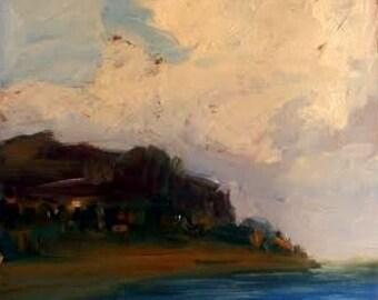Coast landscape Italy, original small painting, ocean storm rain, Sessa