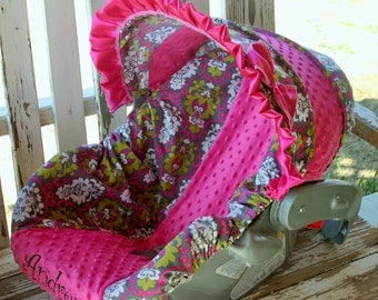 pink, green and white damask with hot pink minky infant car seat cover and hood cover w/ pink satin ruffle