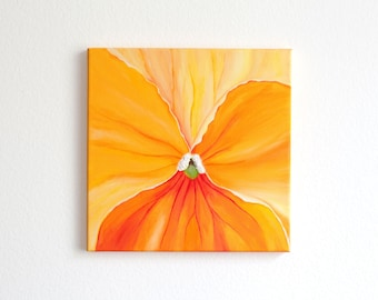 Small canvas wall art Orange abstract painting Flower acrylic painting Orange canvas wall decor Pansy floral painting Modern Art 12x12x0.5