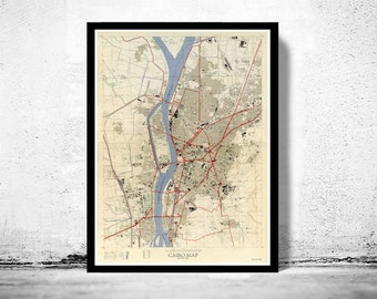 Vintage Map of Cairo Egypt Vintage Map