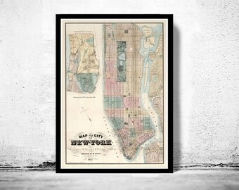 Old Map of New York 1877 Manhattan