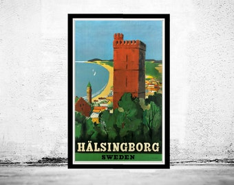 Vintage Poster of Halsingborg Sweden 1930 -1940 Tourism poster travel