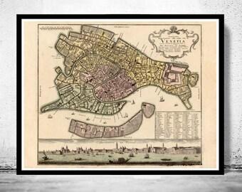Old Map of Venice 1729 Venetia Venezia