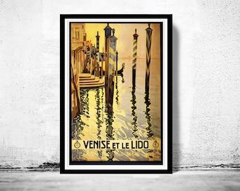 Vintage Poster of Venice et Le Lido Venezia  Italy Italia  1920 Tourism poster travel