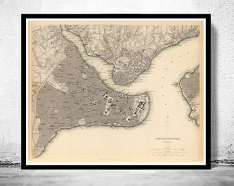 Old Map of Istanbul Constantinople, Turkey 1840 Vintage map