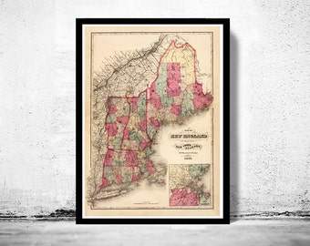 Old Map of New England 1871 vintage