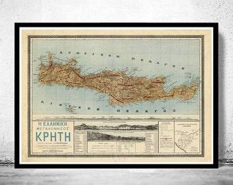 Old Map of Crete Island Greece Creta 1897