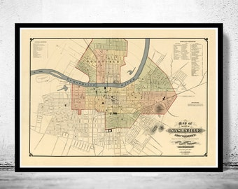 Old map of Nashville Tennessee 1877