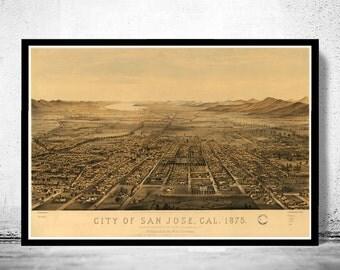 Vintage Panoramic  View of San Jose, California, Aerial view  United States 1875