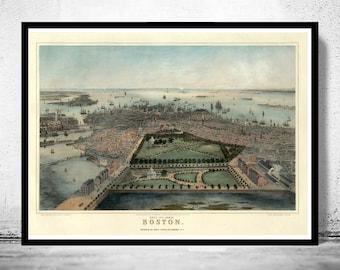 Birds Eye View Old Map of Boston, Massachusetts 1850