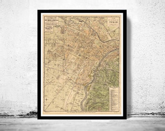 Old Map of Turin Torino Italy Italia 1911