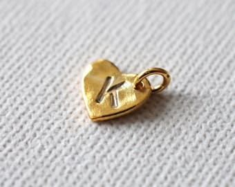 Hand Stamped Initial Sweetheart Tag Charm in 24K Gold Vermeil - one (1) add-on personalized and hand stamped tag charm