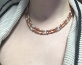 Sterling silver necklace, copper necklace, beaded copper necklace, sterling silver clasp, long necklace