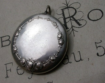 French antique  sterling silver pendant rose flower ornate with sterling silver antique coin portrait king india