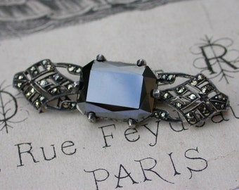 French antique  1900s sterling silver marcasite gemstone filigree Signed  brooch large antique silver black diamond brooch
