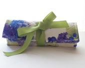 Quilted Jewelry Roll in Lavender Blue Hydrangea Fabric for Travel or Gift Bridesmaid Gifts
