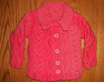 Coral, Cable-knit Baby Sweater