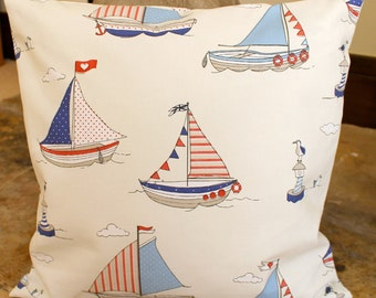 nautical pillow cover, boat cushion cover, nautical sailing boat cushion cover, yacht pillow cover,  blue, white and red nautical pillow 18""