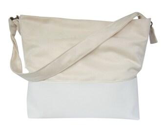 Shoulder bag offwhite suedine
