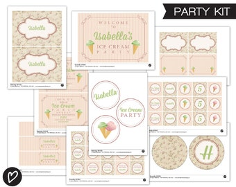 Ice Cream Party Kit. Full Printable Collection. Party Decor