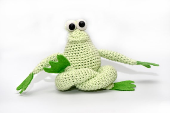Danny the frog stuffed animal crochet doll amigurumi baby