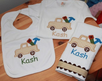 Personalized Applique Baby 3 Piece Layette - Tooltruck