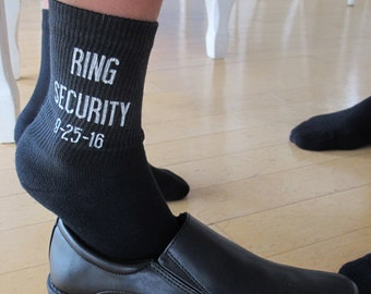 Ring Bearer Wedding Socks, Custom Printed Youth Size, Ring Security, Personalized Ringbearer Socks Sold by the Pair