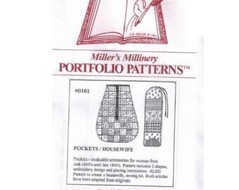 MI0101 - 1700s to 1800s Lady's Pocket and Housewife Sewing Pattern by Miller's Millinery