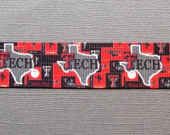 "TEXAS TECH Logo over State Silhouette Design 1"" Grosgrain Ribbon - 3-Yard Length"