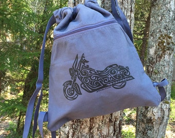 Motorcycle Tribal Tattoo Pigment Dyed Cinch Bag Backpack -  Screen Printed Original Design