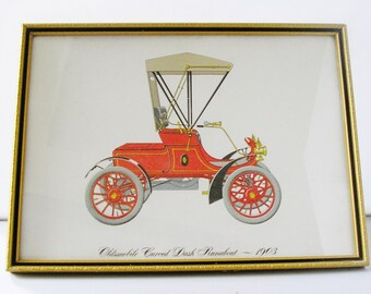 Vintage 1970s print Arthur Kaplan antique car picture gold toned frame lithograph print Oldsmobile Curved Dash Runabout (1903) (X)
