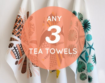 Set of 3 tea towels  •  pick any 3  •  nature inspired designs