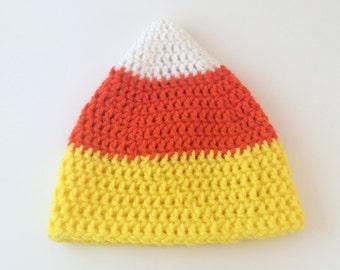 Crochet Candy Corn Hat - 3-6mo