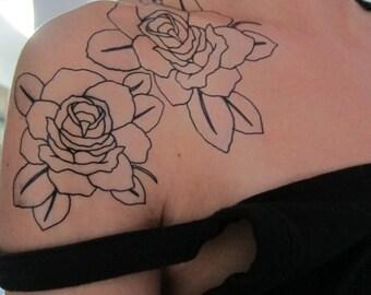 Medium BW Rose Hand Drawn Large Temporary Tattoo