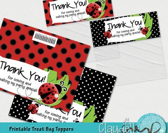 Ladybug in Red Printable Treat Bag Topper - 300 DPI