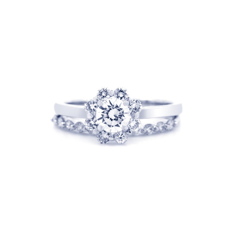 Flower Wedding Set Diamond Flower Rings Engagement Ring and